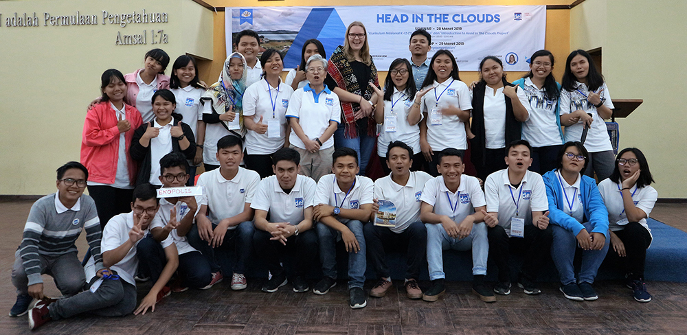 Head in the Clouds workshop participants and student volunteers from IT Del, Balige, Indonesia